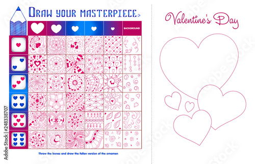 Educational game zentangle elements Valentine