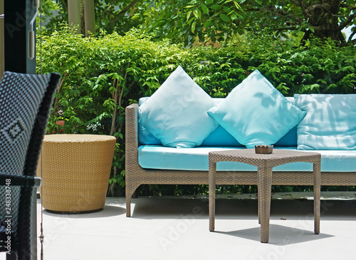 Pleasing Blue Cushion Wicker Sofa Bench In Small Modern Garden Cjindustries Chair Design For Home Cjindustriesco