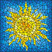 Illustration In The Style Of A Stained Glass Window Abstract Cracked  Sun Against The Blue Sky