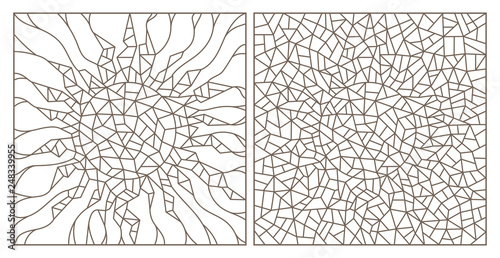Fototapeta  Set of contour illustrations of stained glass Windows with abstract cracked suns