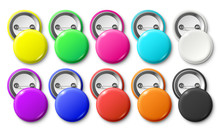 Circle Button Badge. Round Pinned Badges Tag, Metal Pinback Buttons And Colorful Pin Label Realistic Isolated Vector Mockup