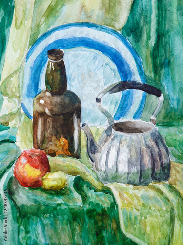 Valokuva  Still life with a plate, bottle, kettle, Apple and lemon