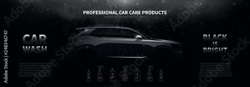 Fotografiet  Professional car wash products ads banner template