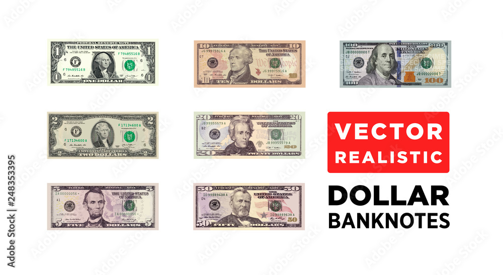 Fototapety, obrazy: Dollar money realistic paper banknotes of USA - vector one size, business art illustration
