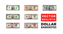 Dollar Money Realistic Paper Banknotes Of USA - Vector One Size, Business Art Illustration