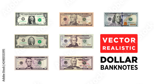 Fototapeta Dollar money realistic paper banknotes of USA - vector one size, business art illustration obraz