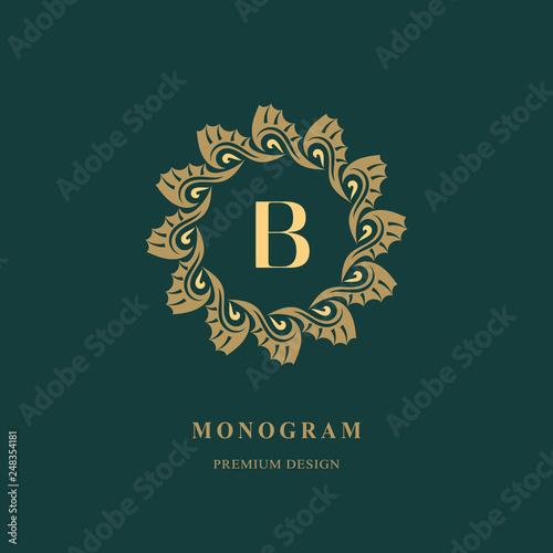 Art Logo Design Capital Letter B Elegant Round Emblem