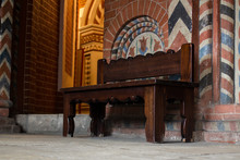 Wooden Bench And Ornaments On The Inner Walls Of St. Basil's Cathedral, The World-famous Orthodox Church On Red Square, A Museum Where It Is Allowed To Photograph