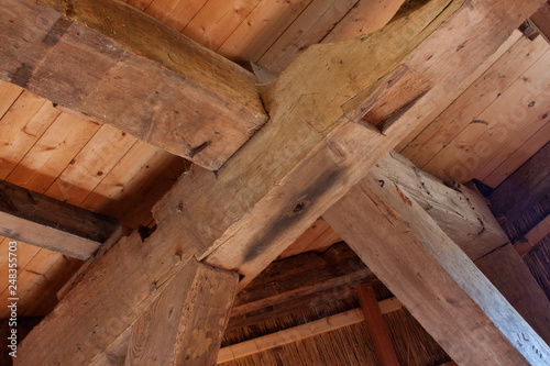 Detail of an old heavy timber frame, a post and beam construction in
