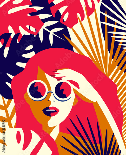 Plakaty do domu - mieszkania vector-illustration-of-a-girl-in-sunglasses-among-tropical-plants-summer-concept-in-vintage-style