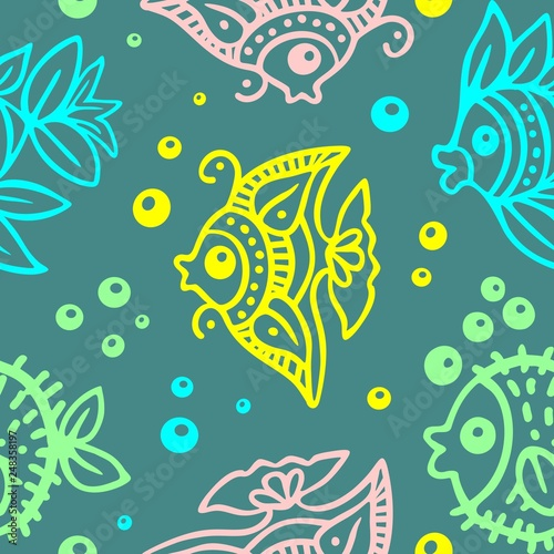 Fotobehang Draw Fishes Batik Style Seamless Pattern Vector Design
