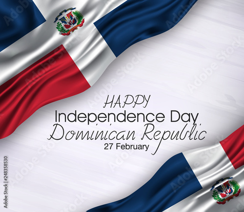 Obraz Vector illustration of Happy dominican republic  Waving   flags isolated on gray background.,27 february,independence day. - fototapety do salonu
