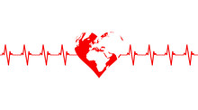Cardiogram Of Planet Earth In The Shape Of A Red Heart Isolated On White Background.