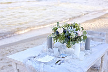 Wedding Table At The Seashore.
