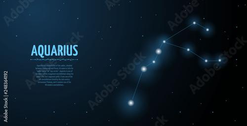 Aquarius zodiac constellation vector sign with silhouette Canvas Print