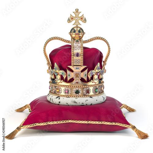 Foto  Golden crown on red velvet pillow for coronation