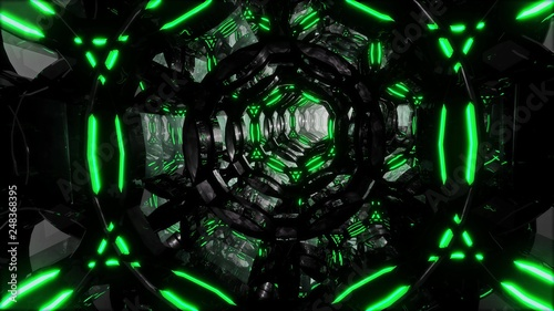 Fotografia  Futuristic digital abstract motion background Flight through an abstract endless tunnel of black-green rings
