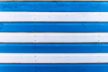 Section Of Blue And White Wood Panelling From A Seaside Beach Hut. Perfect As A Background For Summer Holiday Or Seaside Themes.