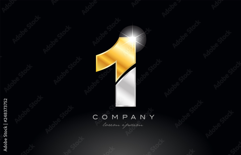 Fototapeta number 1 gold silver grey metal on black background logo