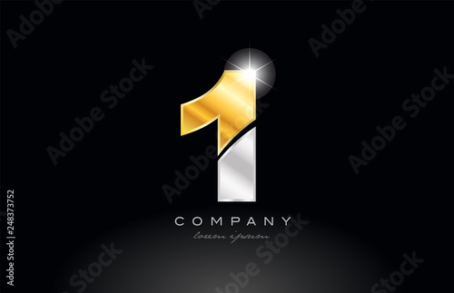 Fototapeta number 1 gold silver grey metal on black background logo obraz