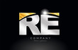 combination letter re r e alphabet with gold silver grey metal logo