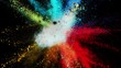 Super slow motion of coloured powder explosion isolated on black background. Filmed on high speed cinema camera, 1000 fps.