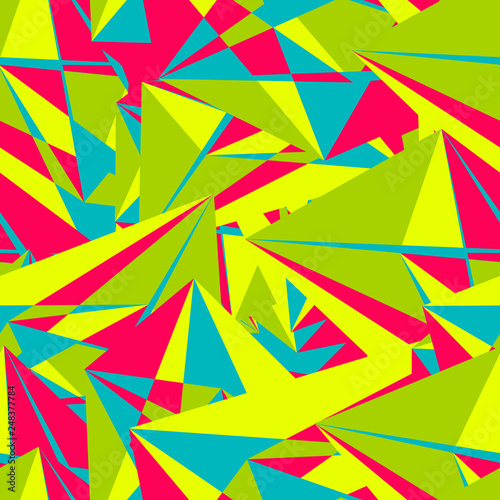 Türaufkleber Künstlich Abstract seamless pattern with colorful chaotic triangles, polygons. Infinity triangular messy geometric pattern. Vector illustration.