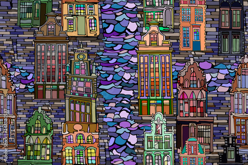 Photo sur Toile Art Studio Abstract vector seamless pattern with Dutch fictional vintage houses and canals. Hand drawn stained glass texture.