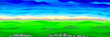Leinwandbild Motiv Spring Landscape. Green Hills with Lavender Flowers and Blue Sky. Poster in a Flat Style. Raster Illustration