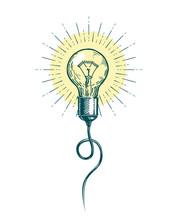 Light Bulb Idea. Innovation, Brainstorm Concept. Sketch Vector Illustration