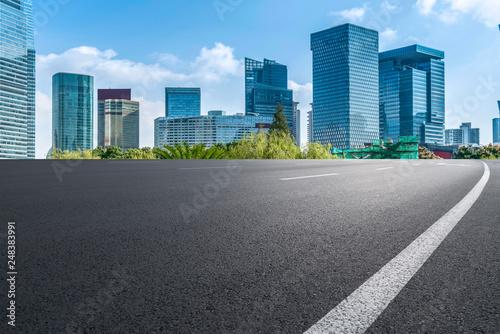 Photo  Highway Road and Skyline of Modern Urban Buildings in Shanghai..