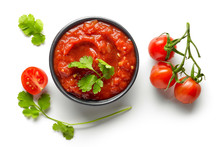 Bowl Of Mexican Salsa Sauce Isolated On White Background, Top View