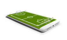Mobile Football Soccer. Mobile Sport Play Match. Online Soccer Game With Live Mobile App. Football Field On The Smartphone Screen. Online Ticket Sales Concept.