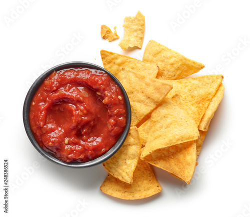 corn chips nachos and salsa sauce