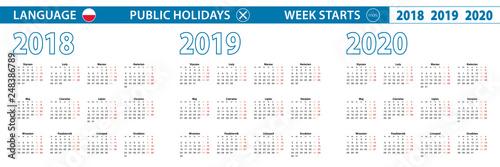 Fotografie, Obraz  Simple calendar template in Polish for 2018, 2019, 2020 years