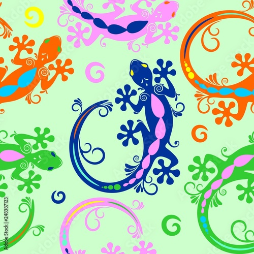 Spoed Foto op Canvas Draw Gecko Lizard Tattoo Style Seamless Pattern Textile Vector Design