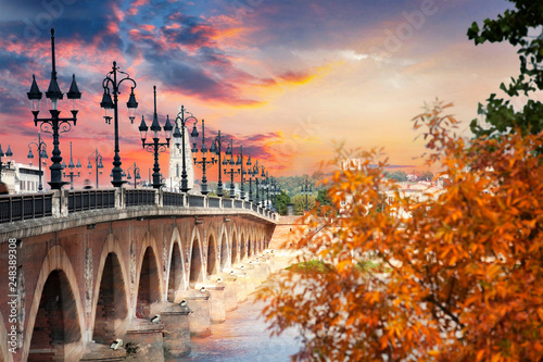 The Pont de pierre in Bordeaux across the Garonne River, France Canvas Print