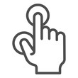 Two fingers touch line icon. Multiple touch vector illustration isolated on white. Tap outline style design, designed for web and app. Eps 10.