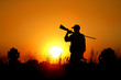 canvas print picture - Bird Hunting - Silhouette