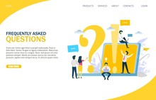 Frequently Asked Questions Vector Website Landing Page Design Template