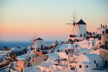 Santorini Skyline Sunset Windmill