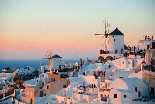 Poster Light pink Santorini skyline sunset windmill