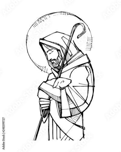 Valokuva Jesus Christ Good Shepherd ink illustration