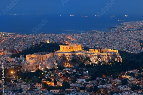 Printed kitchen splashbacks Athens Athens skyline from Mt Lykavitos at night