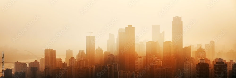 Chongqing urban architecture sunset