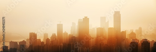 Chongqing urban architecture sunset Canvas