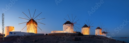 Photo Stands Mediterranean Europe Mykonos windmill night panorama