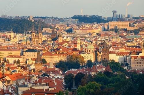 Photo  Prague skyline rooftop view