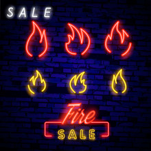 Neon Fire Icon. Elements Of Eco In Neon Style Icons. Simple Neon Flame Icon For Websites, Web Design, Mobile App, Info Graphics. Vector Illustration In Neon Style. Word: FIRE In Neon Style.