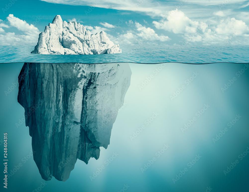 Fototapeta Iceberg in ocean. Hidden threat or danger concept. 3d illustration.